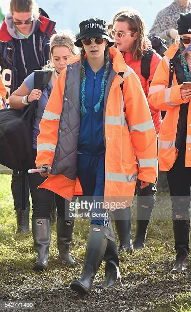 Cara Delevingne attends day 1 of Glastonbury Festival on June 24 2016 in Glastonbury England