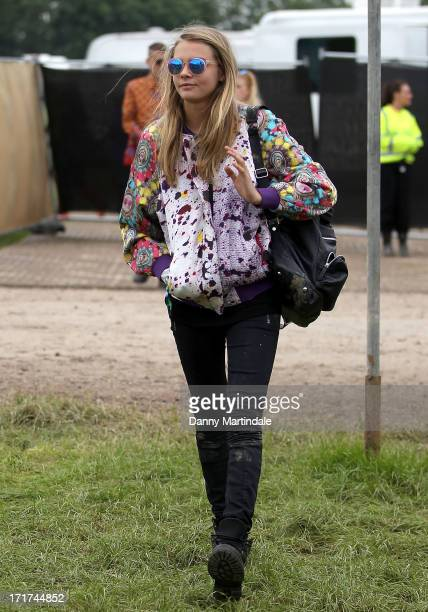 Cara Delevingne attends day 2 of the 2013 Glastonbury Festival at Worthy Farm on June 28 2013 in Glastonbury England