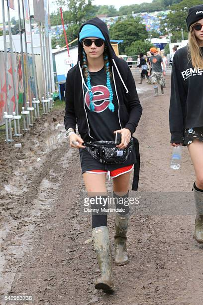 Cara Delevingne attends Day 2 of the Glastonbury Festival 2016 at Worthy Farm Pilton on June 25 2016 in Glastonbury England