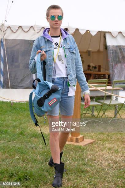 Cara Delevingne attends day two of Glastonbury on June 24 2017 in Glastonbury England