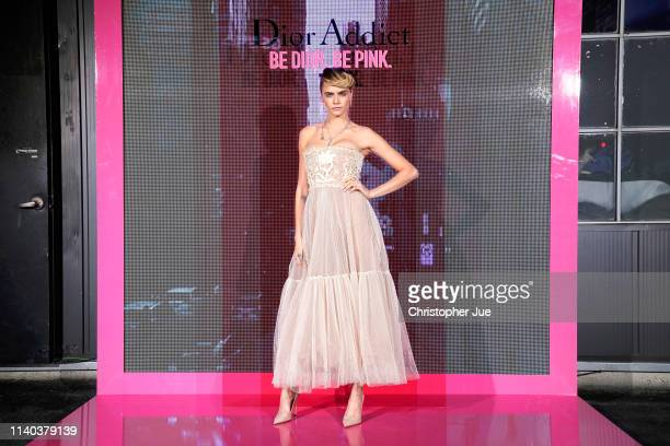 Cara Delevingne attends Dior Addict Stellar Shine launch at Layers 57 on April 04 2019 in Seoul South Korea