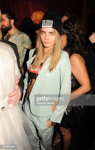 Cara Delevingne attends Fran Cutler's surprise birthday party supported by ABSOLUT Elyx at The Box Soho on April 30 2013 in London England