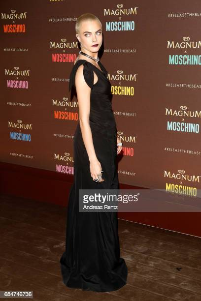 Cara Delevingne attends Magnum party during the 70th annual Cannes Film Festival at Magnum Beach on May 18 2017 in Cannes France