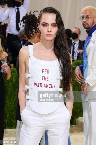 Cara Delevingne attends The 2021 Met Gala Celebrating In America: A Lexicon Of Fashion at Metropolitan Museum of Art on September 13, 2021 in New...