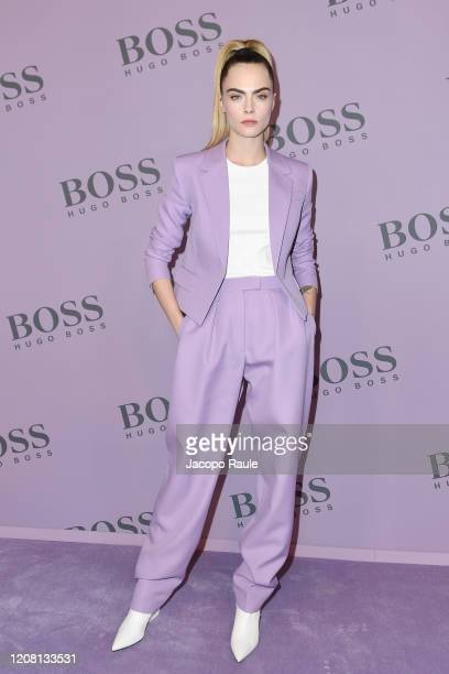 Cara Delevingne attends the Boss fashion show on February 23 2020 in Milan Italy