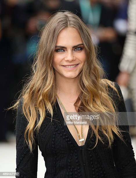 Cara Delevingne attends the Burberry Prorsum show during London Fashion Week Spring/Summer 2016/17 on September 21 2015 in London England