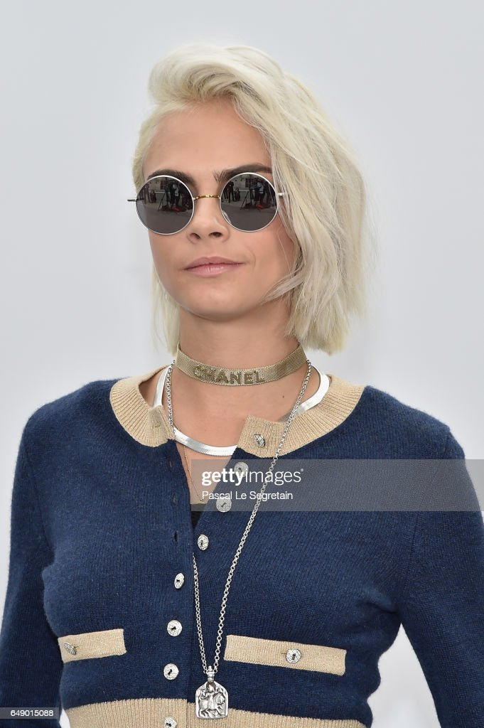 Cara Delevingne attends the Chanel show as part of the Paris Fashion Week Womenswear Fall/Winter 2017/2018 on March 7, 2017 in Paris, France.