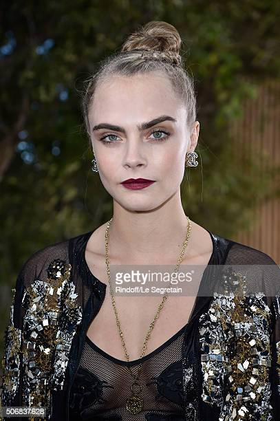Cara Delevingne attends the Chanel Spring Summer 2016 show as part of Paris Fashion Week on January 26 2016 in Paris France