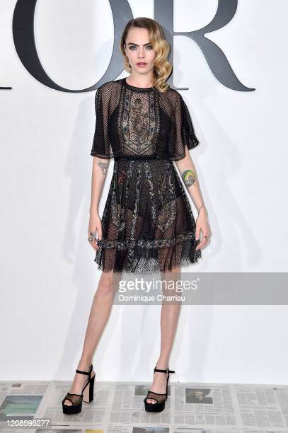 Cara Delevingne attends the Dior show as part of the Paris Fashion Week Womenswear Fall/Winter 2020/2021 on February 25, 2020 in Paris, France.