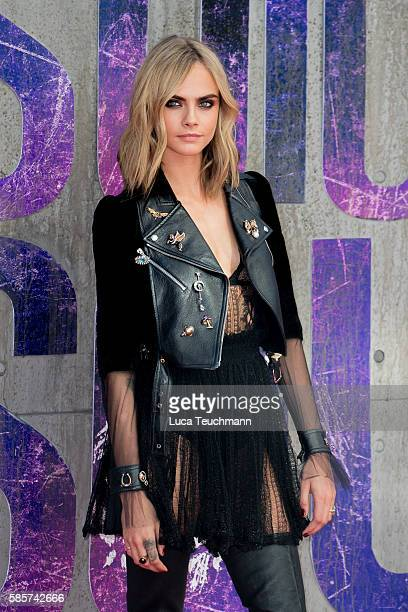 Cara Delevingne attends the European Premiere of Suicide Squad at Odeon Leicester Square on August 3 2016 in London England