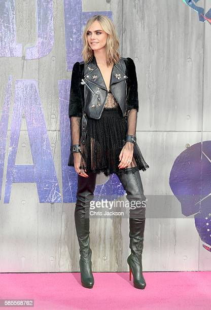 """Cara Delevingne attends the European Premiere of """"Suicide Squad"""" at the Odeon Leicester Square on August 3, 2016 in London, England."""