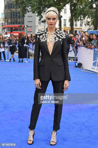 Cara Delevingne attends the European Premiere of Valerian And The City Of A Thousand Planets at Cineworld Leicester Square on July 24 2017 in London...