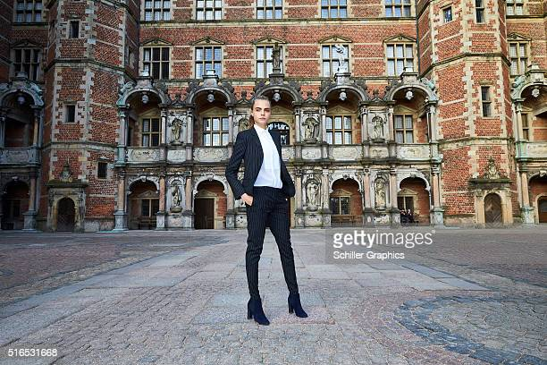 Cara Delevingne attends the 'Jonathan Yeo Portraits' exhibition opening at the Museum of National History at Frederiksborg Castle on March 19 2016 in...