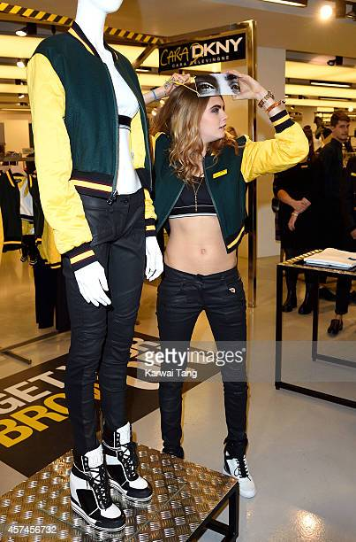 Cara Delevingne attends the launch of the Cara Delevingne DKNY Capsule Collection at Selfridges on October 18 2014 in London on October 18 2014 in...