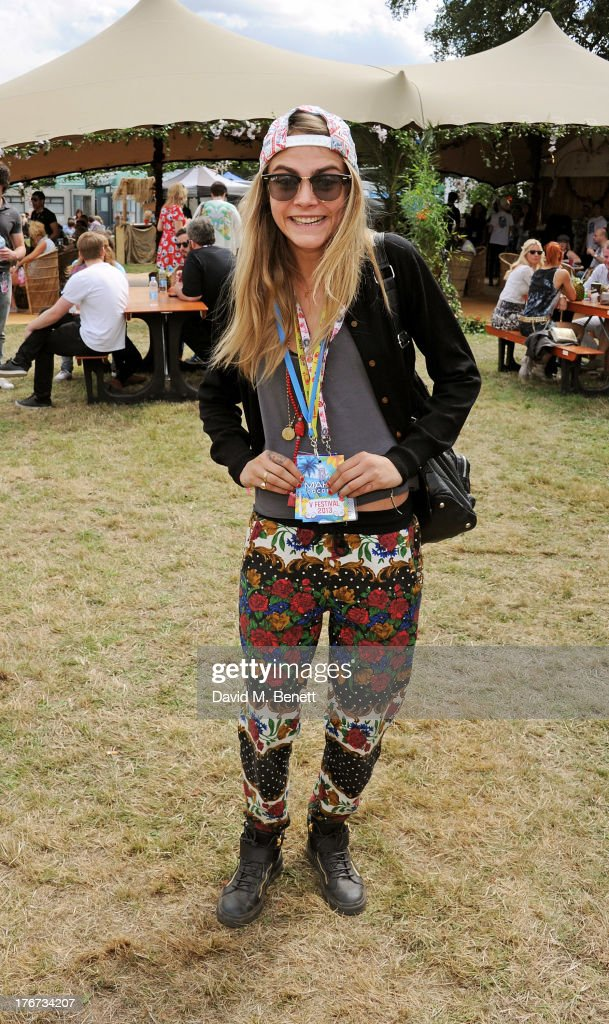 Cara Delevingne attends the Mahiki Coconut Backstage Bar during day 2 of V Festival 2013 at Hylands Park on August 18, 2013 in Chelmsford, England.