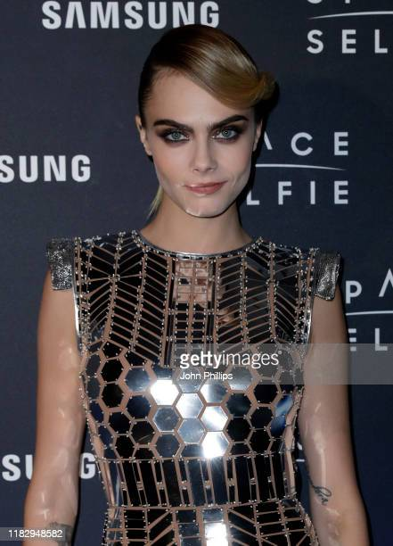 Cara Delevingne attends the SpaceSelfie photocall at the Samsung KX on October 23 2019 in London England
