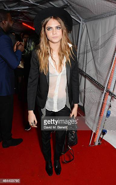 Cara Delevingne attends the Universal Music Brits party at The Soho House PopUp on February 25 2015 in London England