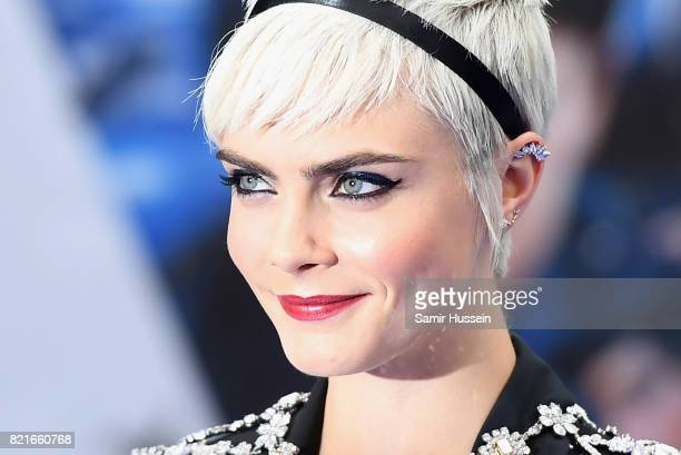 """Cara Delevingne attends the """"Valerian And The City Of A Thousand Planets"""" European Premiere at Cineworld Leicester Square on July 24, 2017 in London,..."""