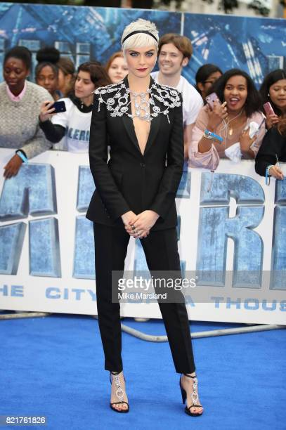 Cara Delevingne attends the Valerian And The City Of A Thousand Planets European Premiere at Cineworld Leicester Square on July 24 2017 in London...