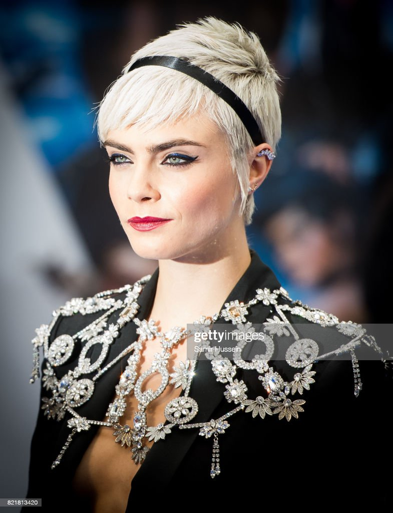 Cara Delevingne attends the 'Valerian And The City Of A Thousand Planets' European Premiere at Cineworld Leicester Square on July 24, 2017 in London, England.