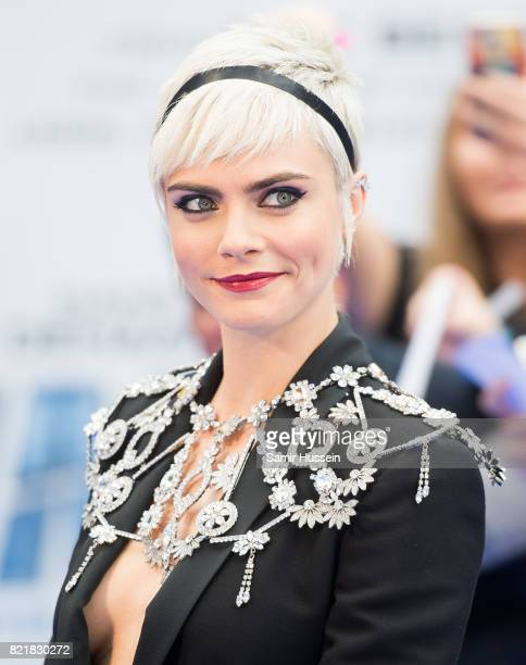 "Cara Delevingne attends the ""Valerian And The City Of A Thousand Planets"" European Premiere at Cineworld Leicester Square on July 24, 2017 in London,..."