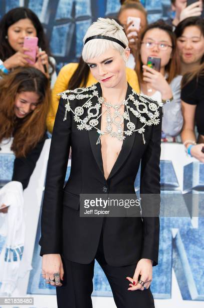Cara Delevingne attends the 'Valerian And The City Of A Thousand Planets' European Premiere at Cineworld Leicester Square on July 24 2017 in London...