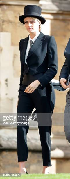 Cara Delevingne attends the wedding of Princess Eugenie of York and Jack Brooksbank at St George's Chapel on October 12 2018 in Windsor England