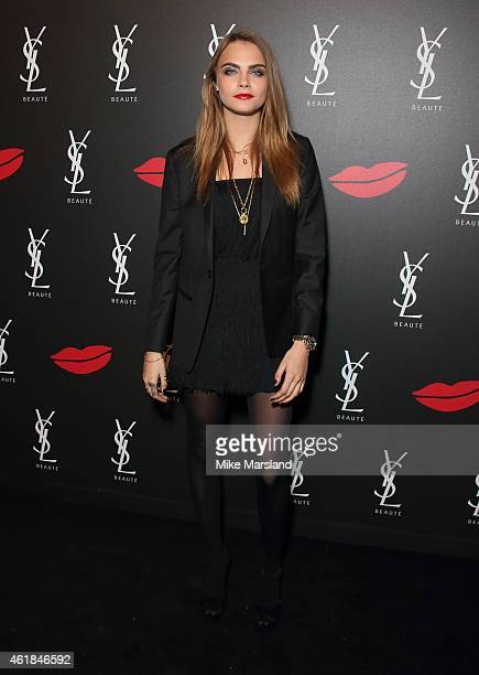 Cara Delevingne attends the YSL Beaute: YSL Loves Your Lips party at The Boiler House,The Old Truman Brewery, on January 20, 2015 in London, England.