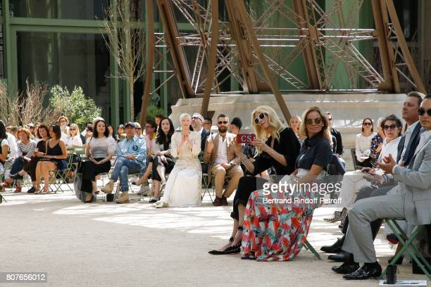 Cara Delevingne Aziz Ansari Alessandra Mastronardi Tilda Swinton her husband Sandro Kopp and Claudia Schiffer attend the Chanel Haute Couture...