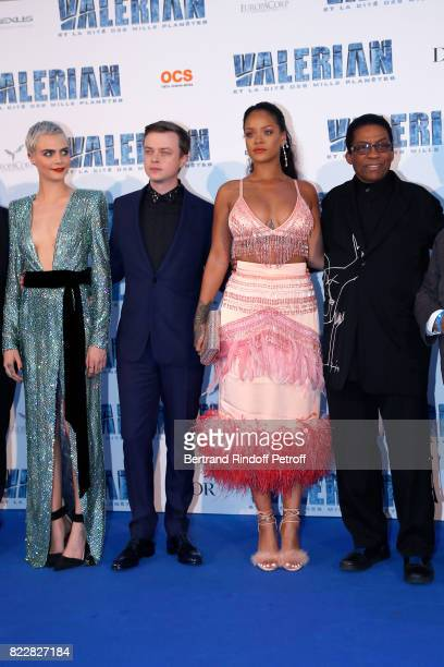 Cara Delevingne Dane DeHaan Rihanna and Herbie Hancock attend 'Valerian and the City of a Thousand Planets' Paris Premiere at La Cite Du Cinema on...