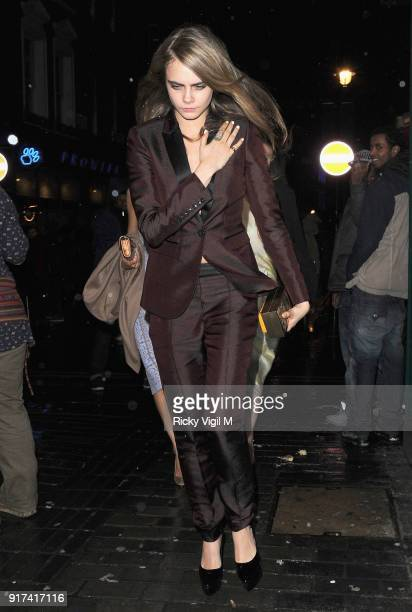 Cara Delevingne departs The Box Club after attending the Weinstein and Grey Goose preBAFTA Dinner on February 15 2014 in London England