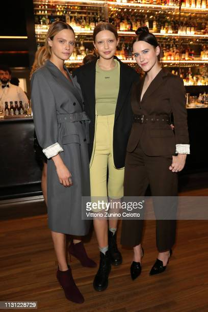 Cara Delevingne Gigi Hadid and Rachel Brosnahan attend the dinner after the Prada Show during Milan Fashion Week Fall/Winter 2019/20 on February 21...