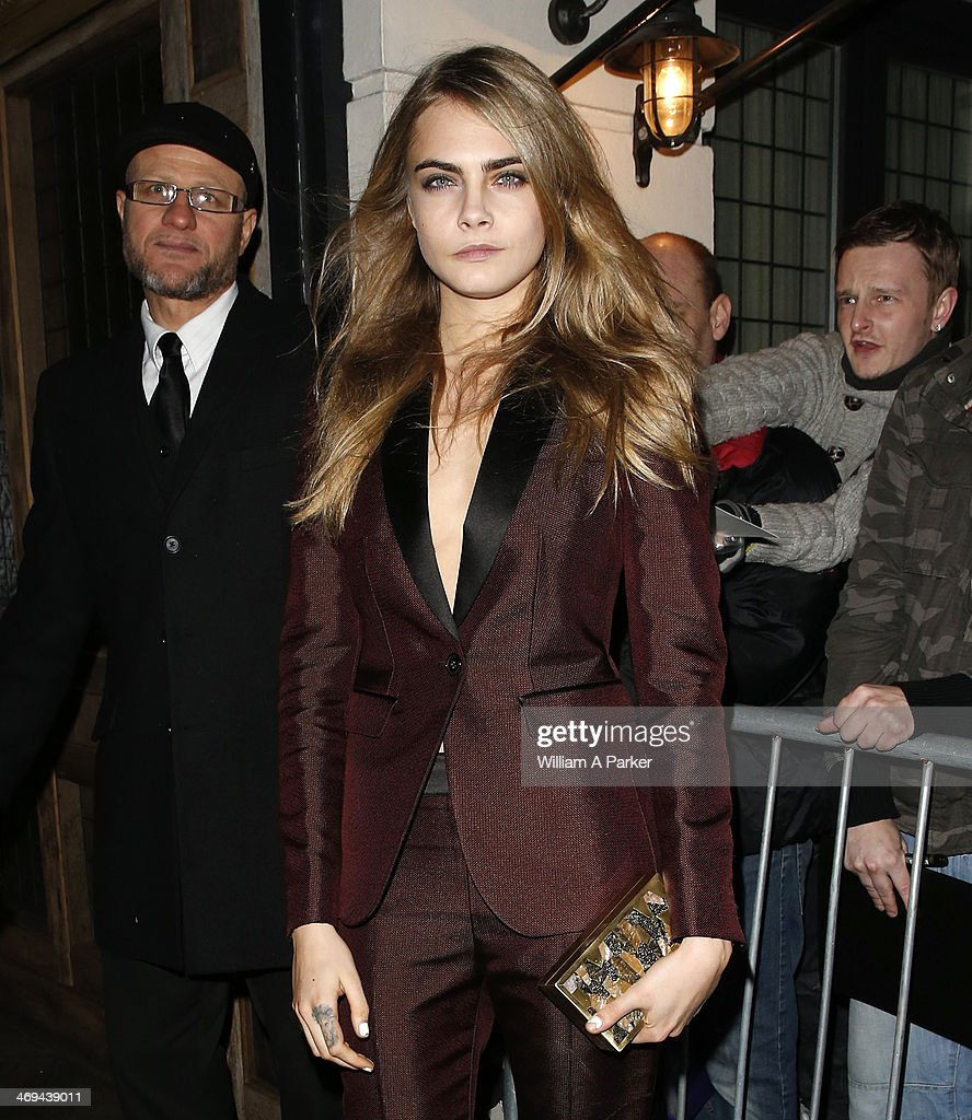Cara Delevingne is pictured arriving at Grey Goose BAFTA event during London Fashion Week held at Little House on February 14, 2014 in London, England.