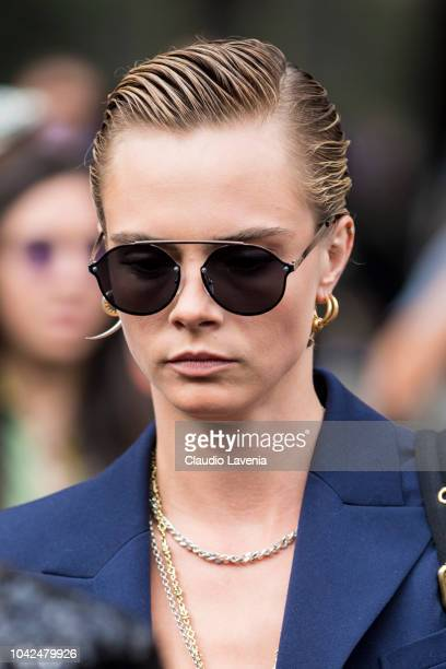 Cara Delevingne is seen after the Balmain show on September 28 2018 in Paris France