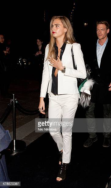 Cara Delevingne is seen ariving at Harrods Knightsbridge on March 13 2014 in London England