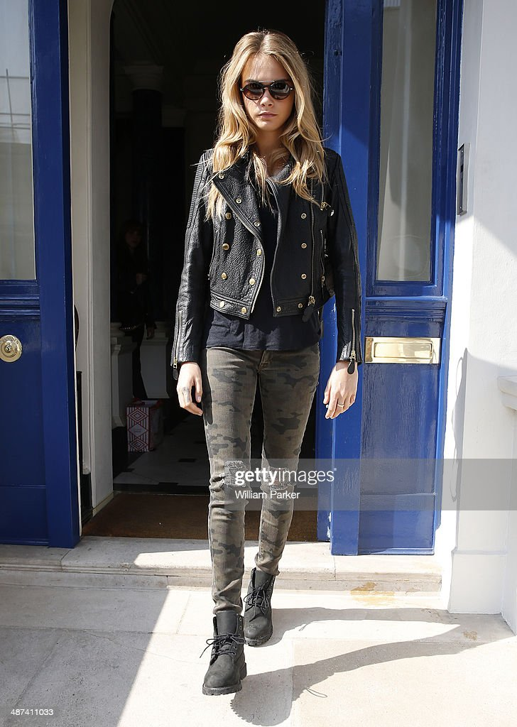 Cara Delevingne is seen leaving her London on April 30, 2014 in London, England.