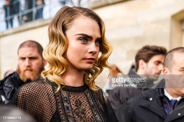 Cara Delevingne is seen, outside Dior, during Paris Fashion Week - Womenswear Fall/Winter 2020/2021, on February 25, 2020 in Paris, France.