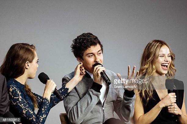 Cara Delevingne Nat Wolff and Halston Sage attend the Meet the Filmmaker Jake Schreier John Green Cara Delevingne and Nat Wolff Paper Towns at Apple...