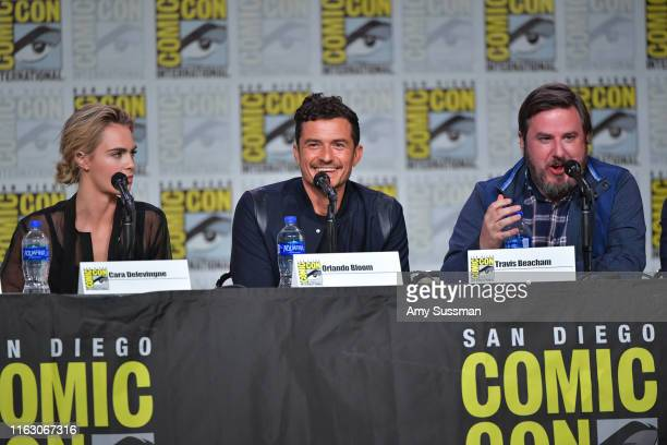 Cara Delevingne Orlando Bloom Travis Beacham speak at the Carnival Row Panel during 2019 ComicCon International at San Diego Convention Center on...