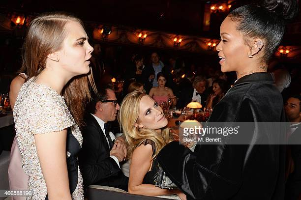 Cara Delevingne Poppy Delevingne and Rihanna attend the British Fashion Awards at the London Coliseum on December 1 2014 in London England