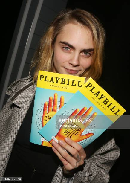 Cara Delevingne poses backstage at the new Alanis Morissette musical Jagged Little Pill on Broadway at The Broadhurst Theatre on November 20 2019 in...
