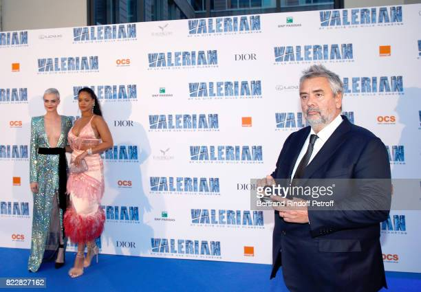 Cara Delevingne Rihanna and Luc Besson attend 'Valerian and the City of a Thousand Planets' Paris Premiere at La Cite Du Cinema on July 25 2017 in...