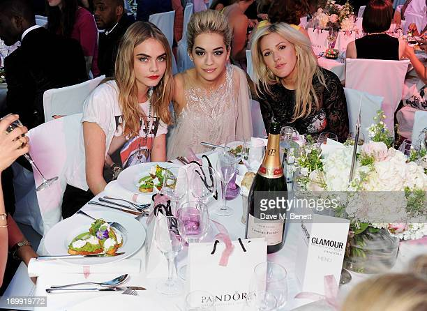 Cara Delevingne Rita Ora and Ellie Goulding arrive at the Glamour Women of the Year Awards in association with Pandora at Berkeley Square Gardens on...