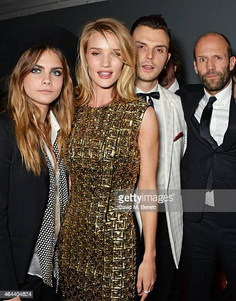 Cara Delevingne Rosie HuntingtonWhiteley Theo Hutchcraft and Jason Statham attend the Universal Music Brits party at The Soho House PopUp on February...