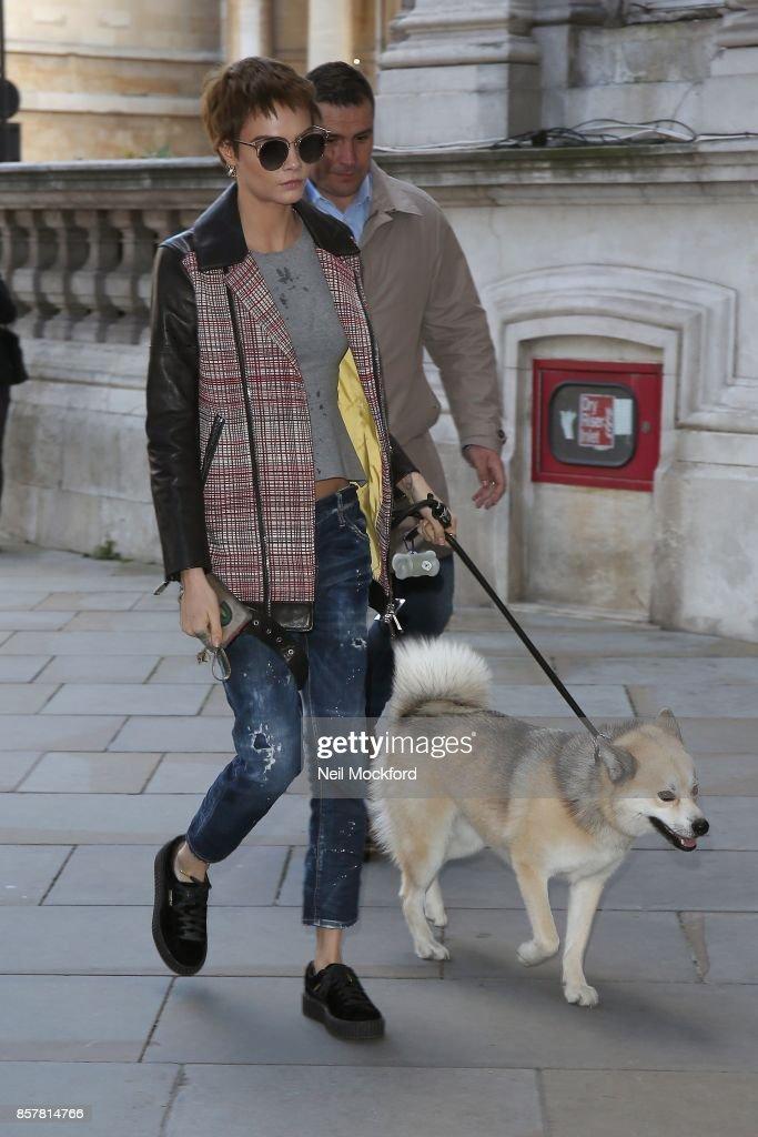 Cara Delevingne seen arriving back at her hotel with her dog Leo on October 5, 2017 in London, England.