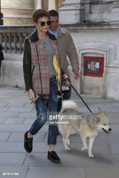 Cara Delevingne seen arriving back at her hotel with her dog Leo on October 5 2017 in London England