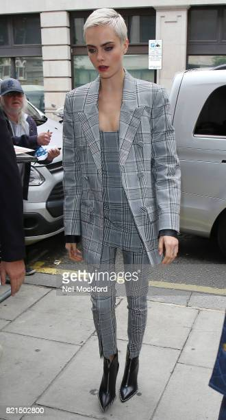 Cara Delevingne seen at BBC Radio 2 promoting new movie 'Valerian' on July 24 2017 in London England