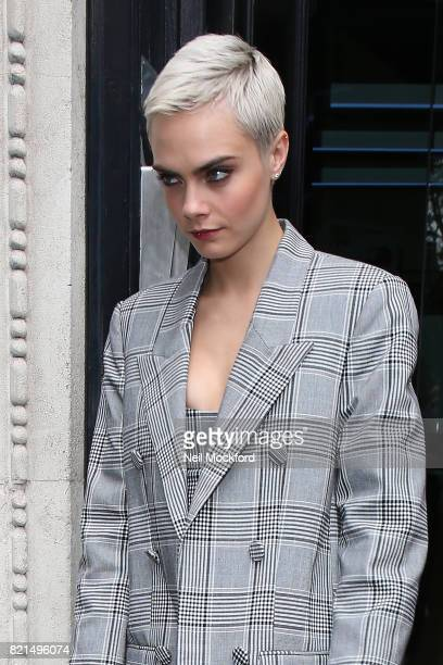 Cara Delevingne seen at KISS FM UK promoting new movie 'Valerian' on July 24 2017 in London England