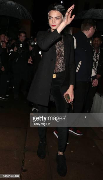 Cara Delevingne seen at Miu Miu X LOVE Magazine party at No 5 Hertford Street during London Fashion Week September 2017 on September 18, 2017 in...