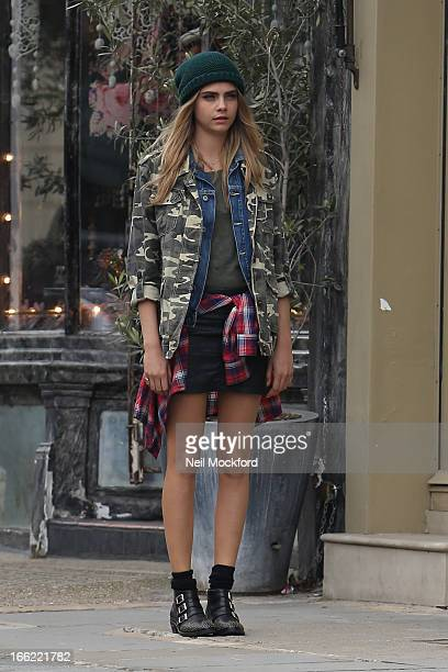 Cara Delevingne seen on a photoshoot in Notting Hill on April 10 2013 in London England